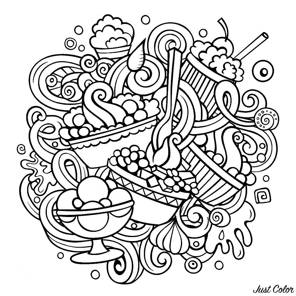 Un dessin de style Doodle avec de nombreuses pâtisseries semblant délicieuses
