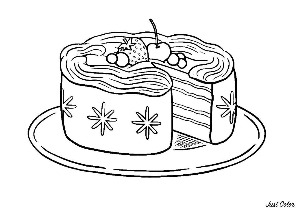 Gâteau Simple à Colorier Coloriage Cupcakes Et Gateaux