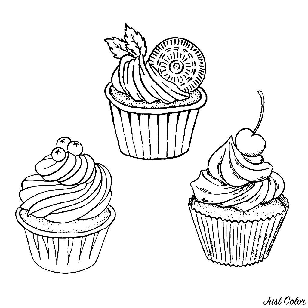 Trois Bons Simples Cupcakes Coloriage Cupcakes Et Gateaux