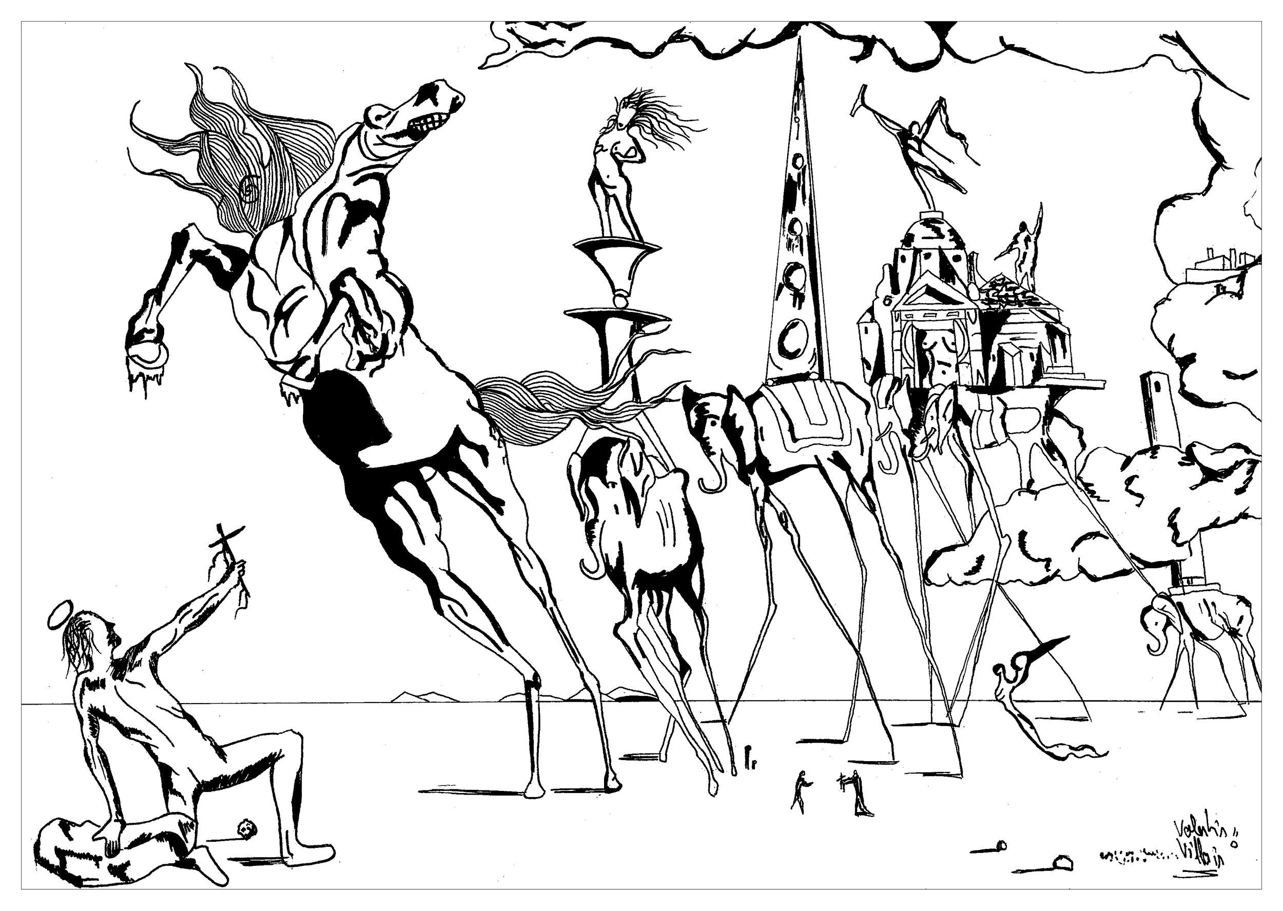 Coloriage inspiré par une oeuvre de Salvador Dalí