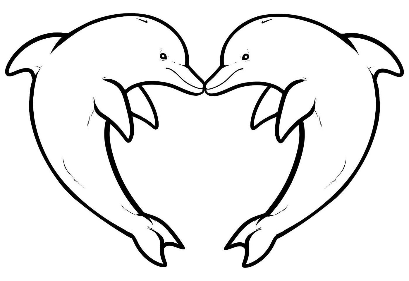 Dauphins 10 coloriage de dauphins coloriages pour enfants - Image de coeur gratuit ...