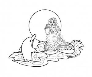 Coloriage de dauphin à imprimer pour enfants