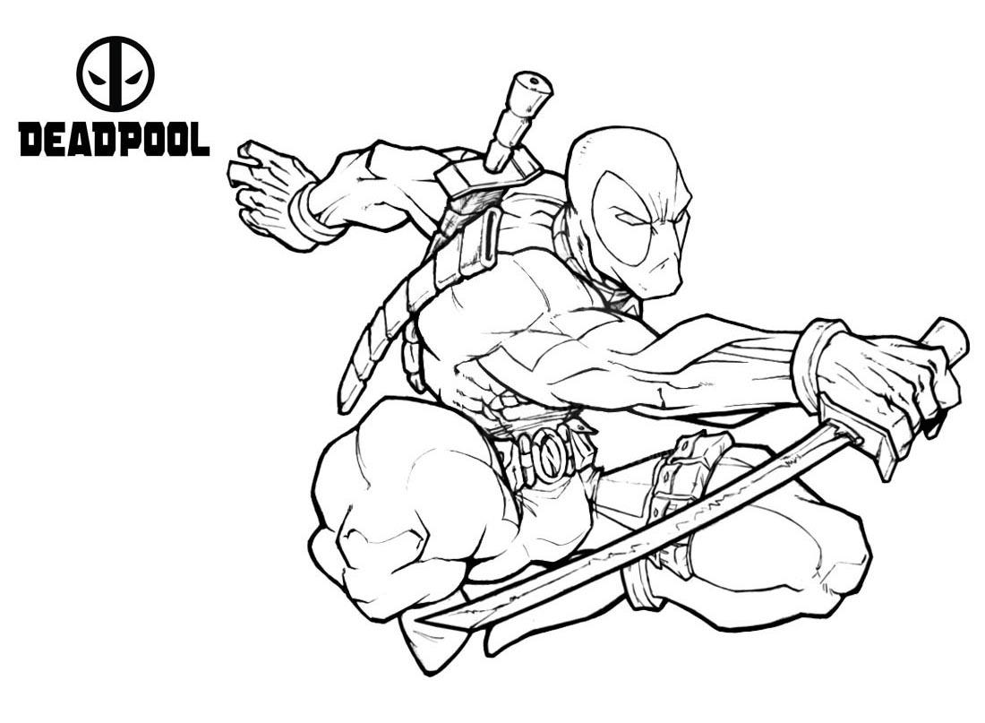 Coloriage gratuit Deadpool - Coloriage Deadpool ...