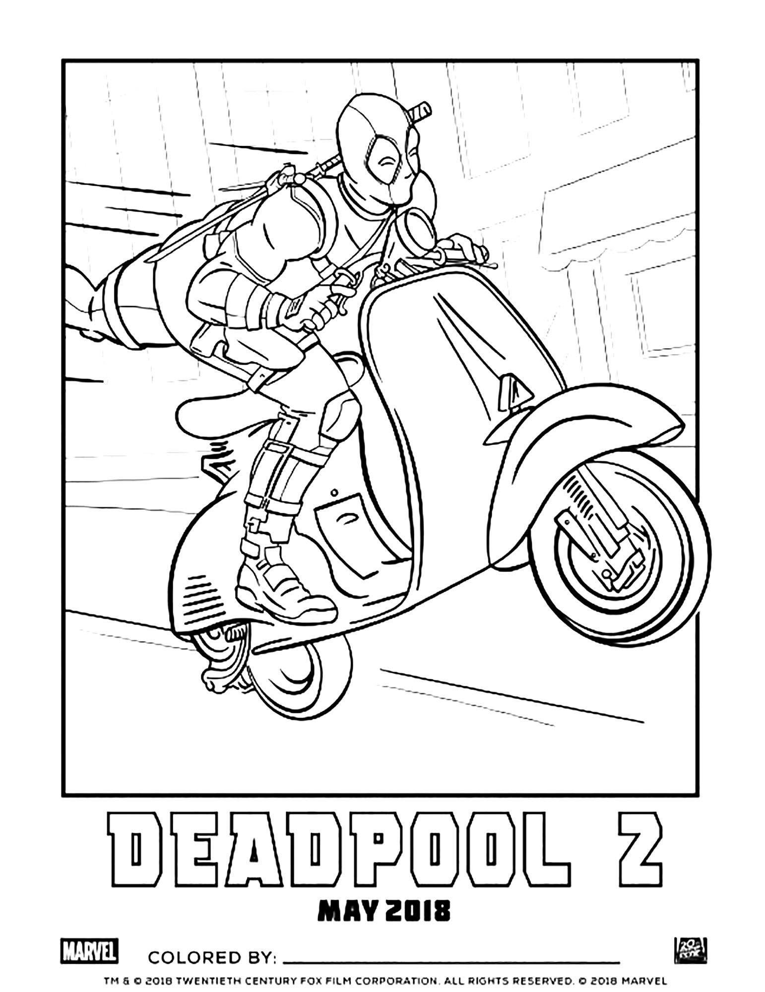 Deadpool sur un scooter