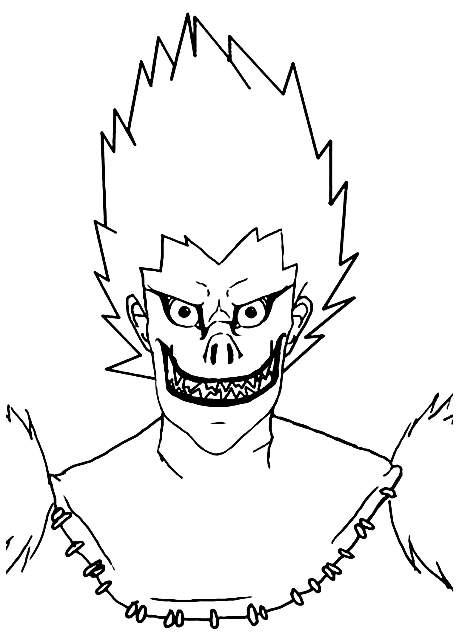 Dibujos para colorear de anime para colorear Único Amor Dibujo de Ryuk de Death Note Manga para colorear