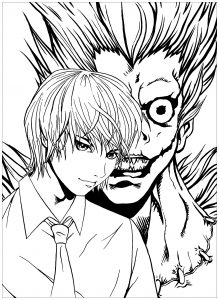 Coloriage enfant death note 1