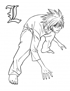 Coloriage enfant death note 2