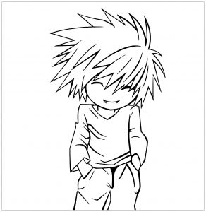 Coloriage enfant death note 5