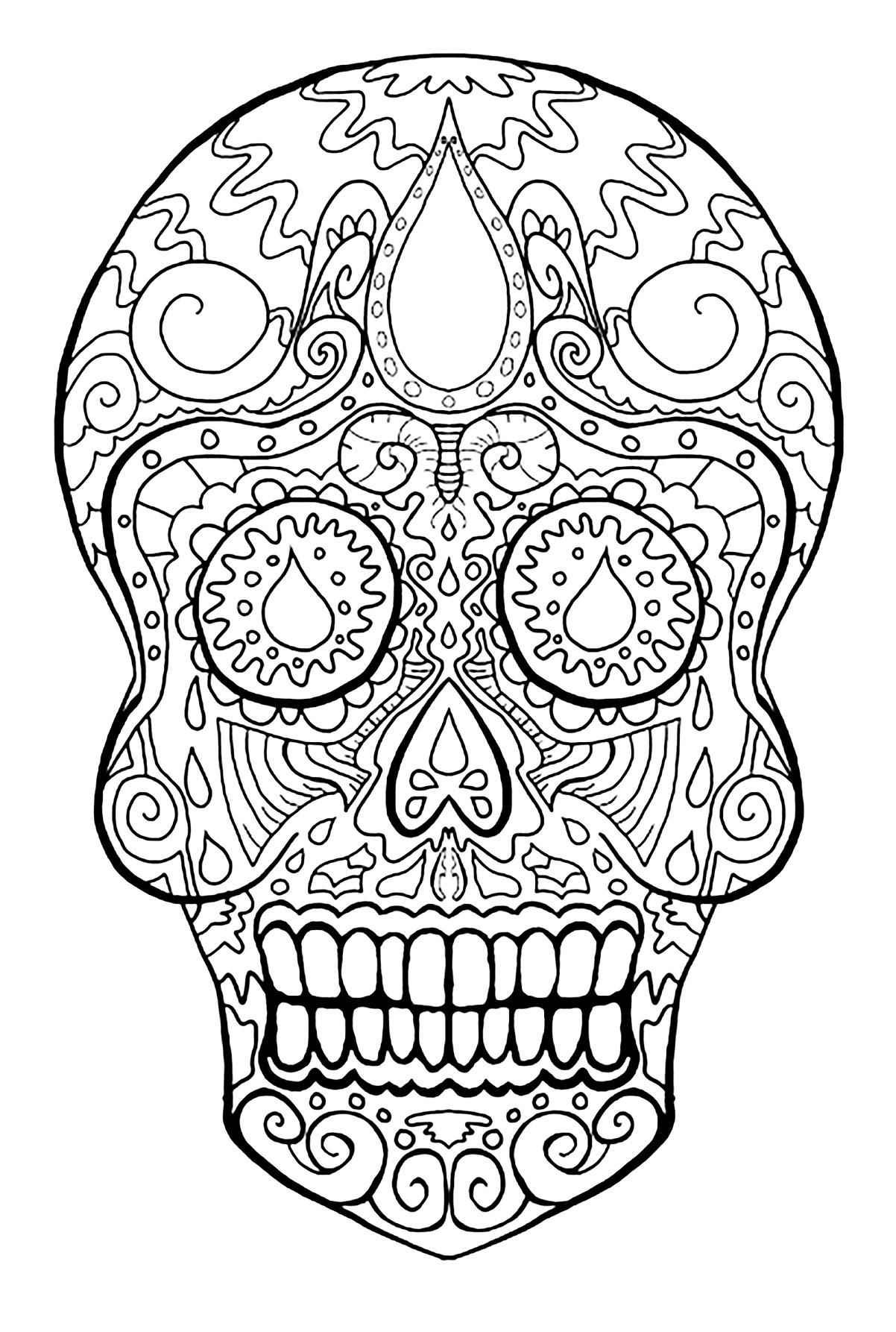 Incroyable Coloriage de Días de los muertos (Le jour des morts), simple, pour enfants