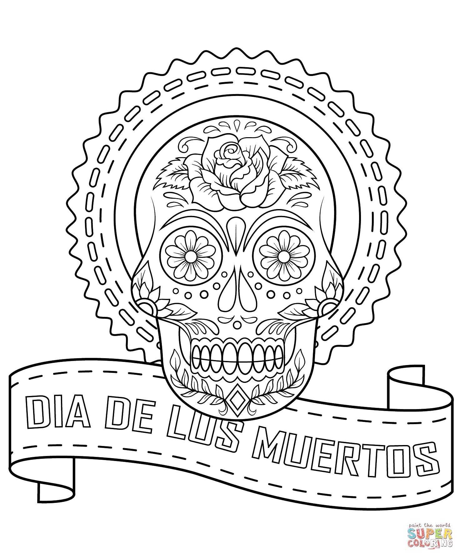 Coloriage gratuit Día de los Muertos aux traits fins