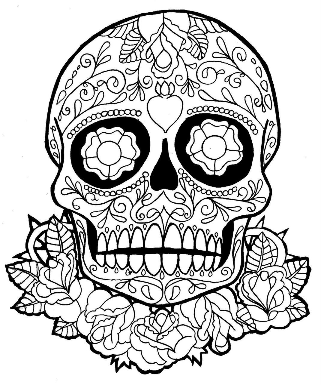 Incroyable crâne à colorier Día de los Muertos