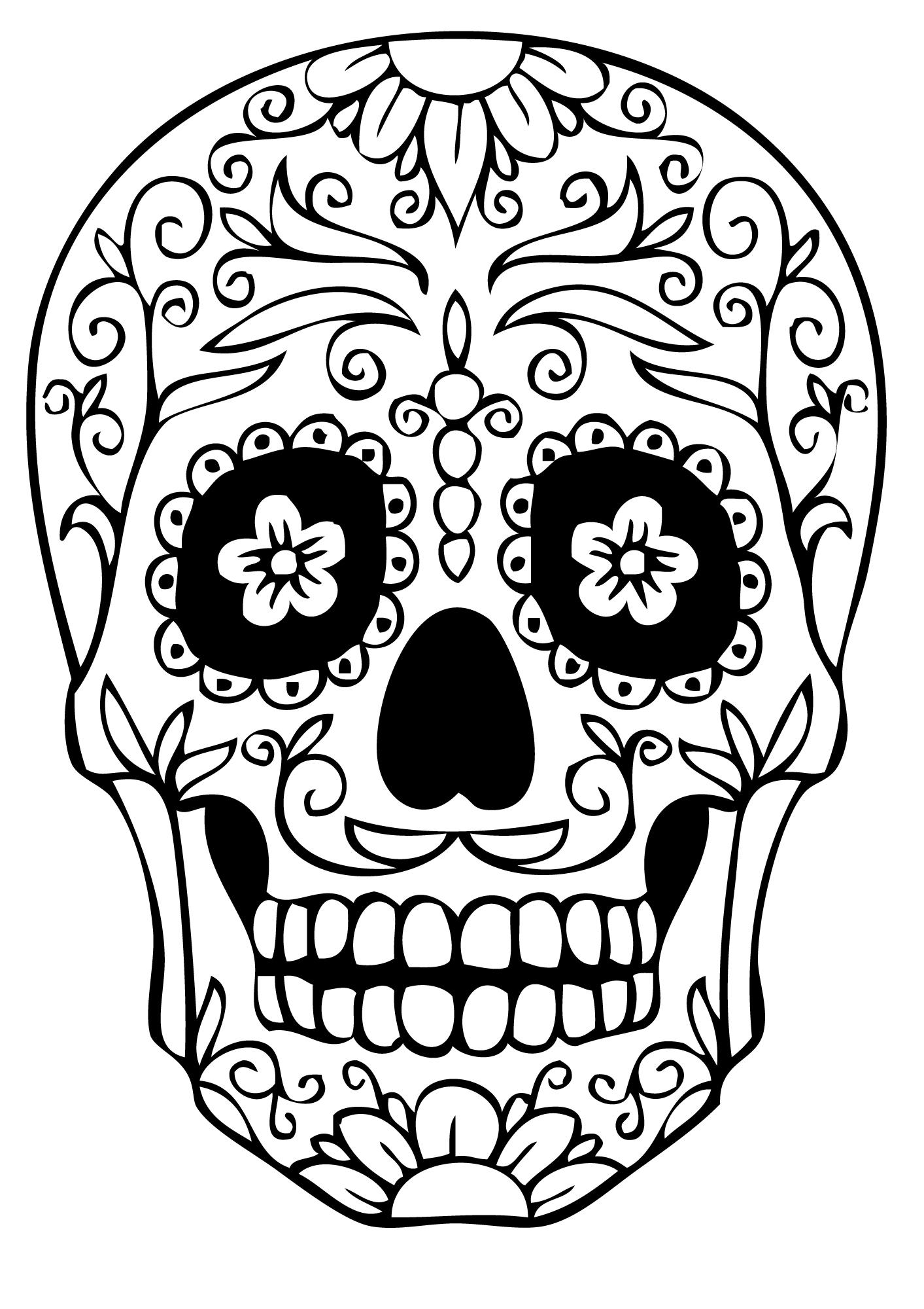 Dia de los muertos 16 coloriage d a de los muertos le jour des morts coloriages pour enfants - Dessin tete de mort mexicaine ...
