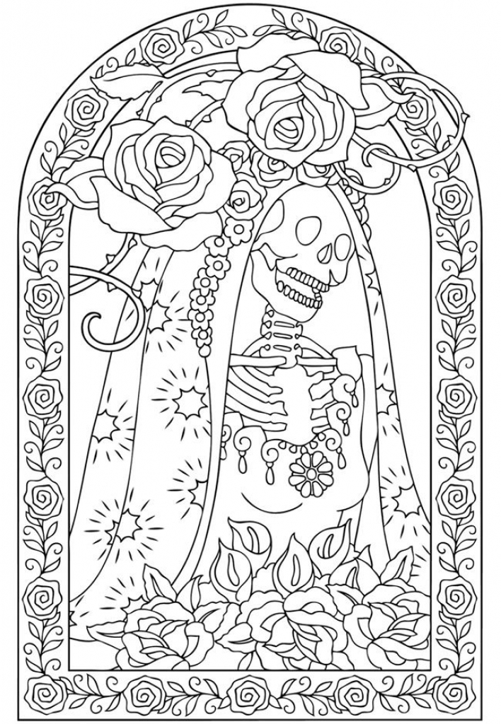 Kid Friendly Mexican Day Of The Dead Coloring Page Az