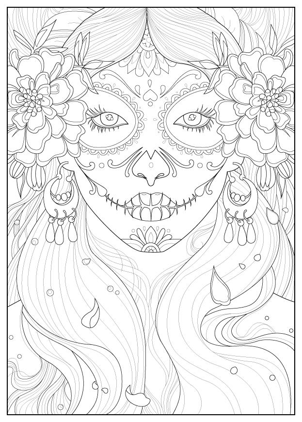 Coloriage inspiré par la fête traditionnelle mexicaine 'Día de los Muertos', avec une femme maquillée pour l'occasion