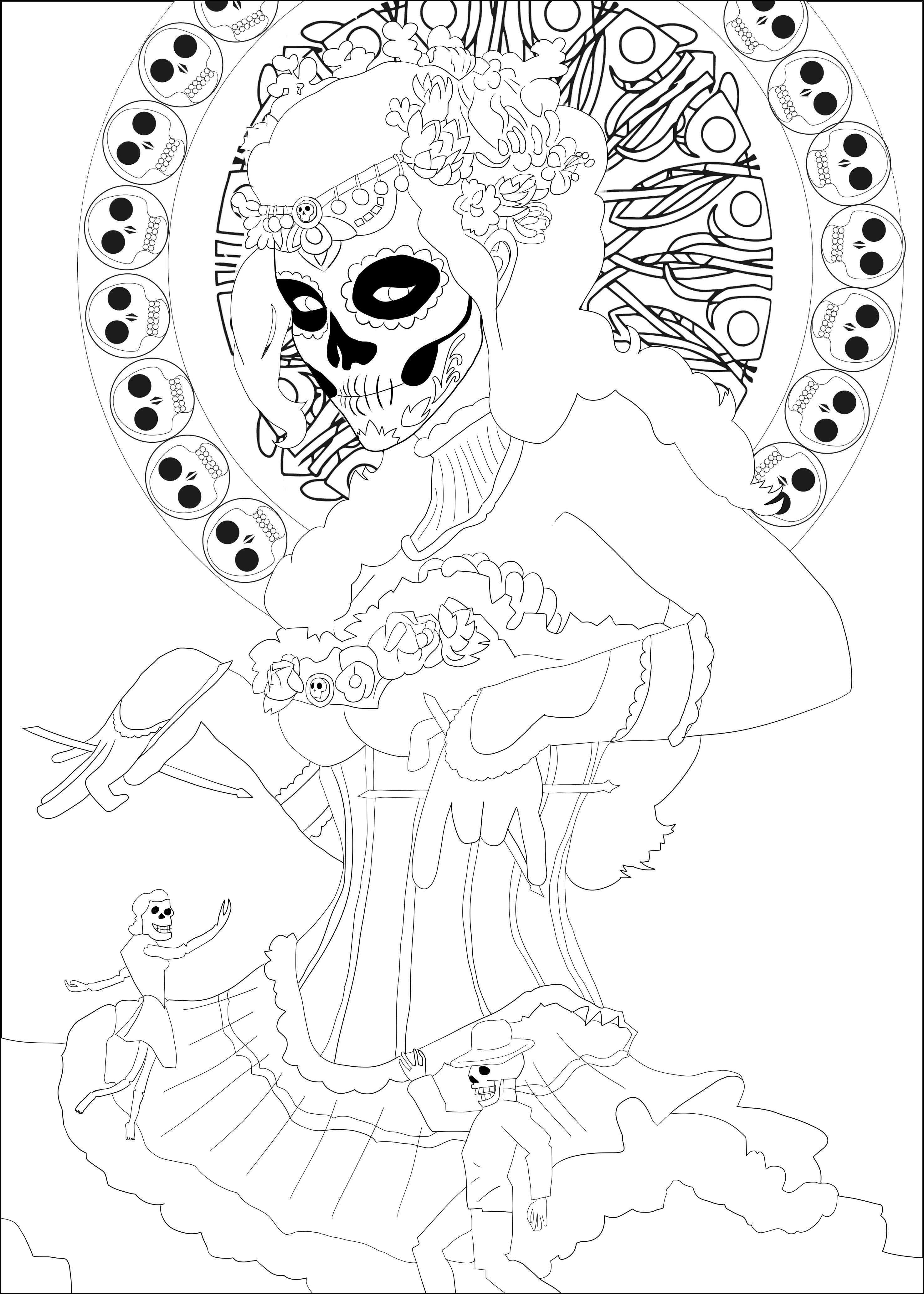 Coloriage à télécharger en PDF ou imprimer : Día de los Muertos