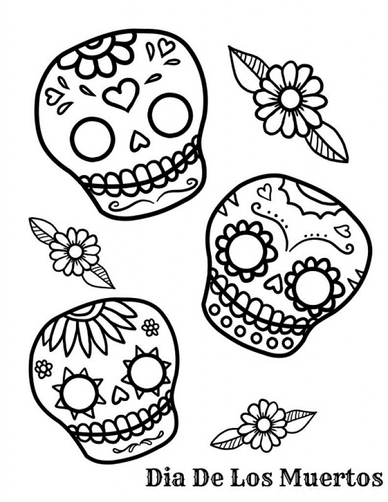 Day Of The Dead Coloring Pages Getcoloringpages Throughout Dia De