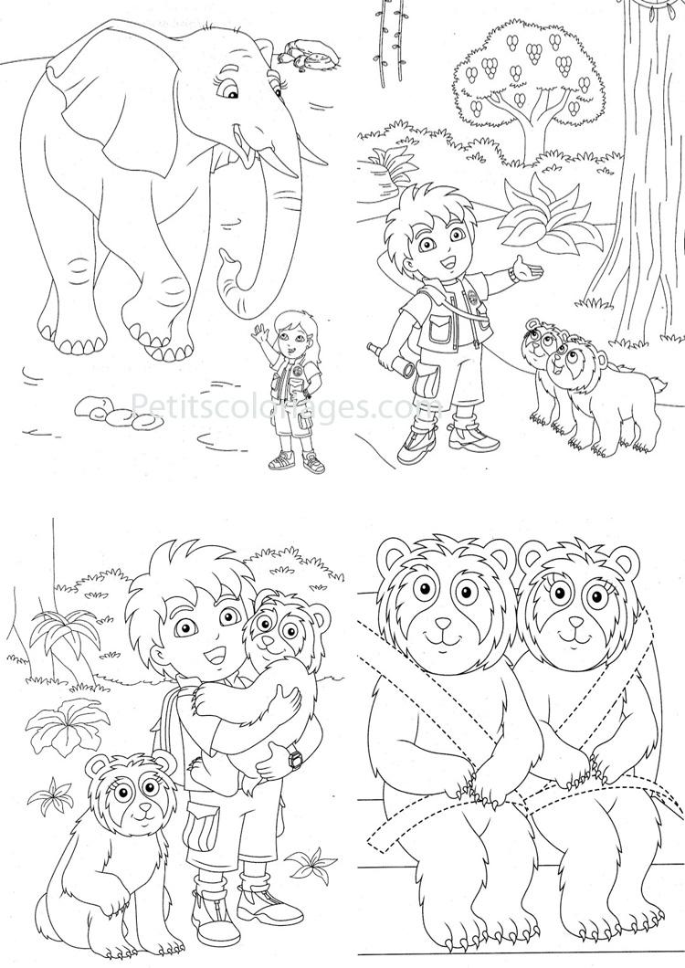 Dessin très complet de Diego et ses amis les animaux !