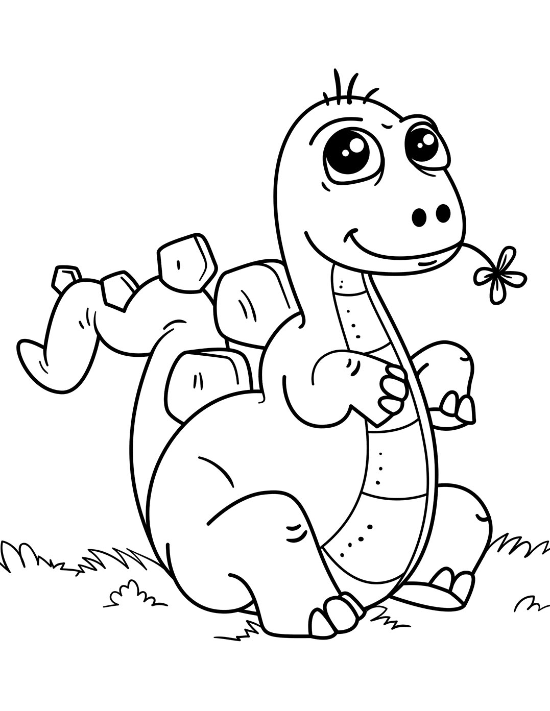 Coloriage d'un petit dinosaure avec sa fleur !