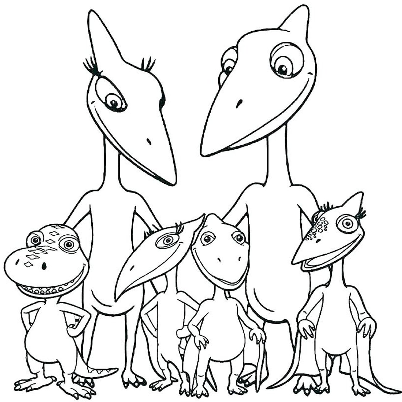 Coloriage d'une famille de dinosaures