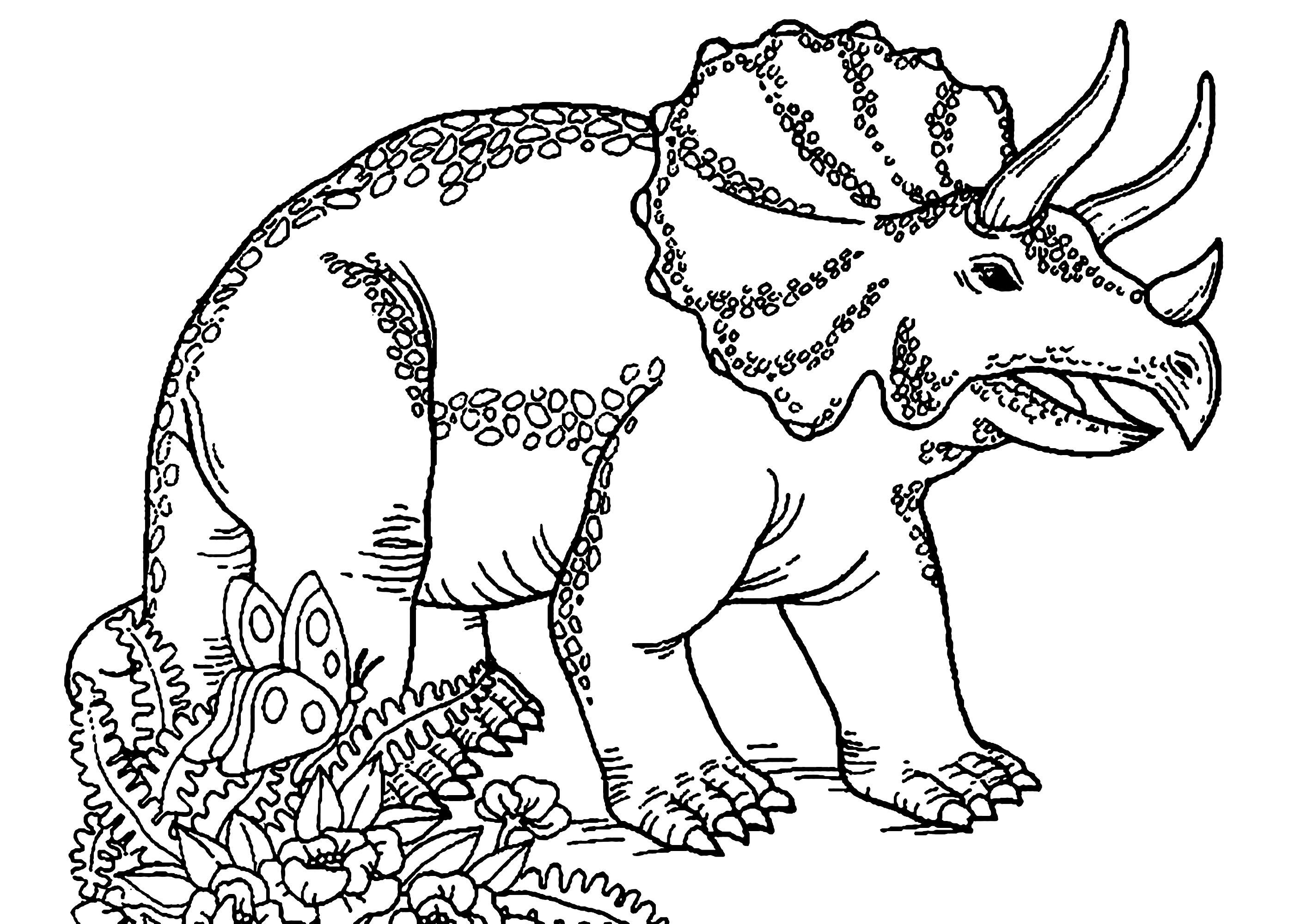 Coloriage d'un tricératops
