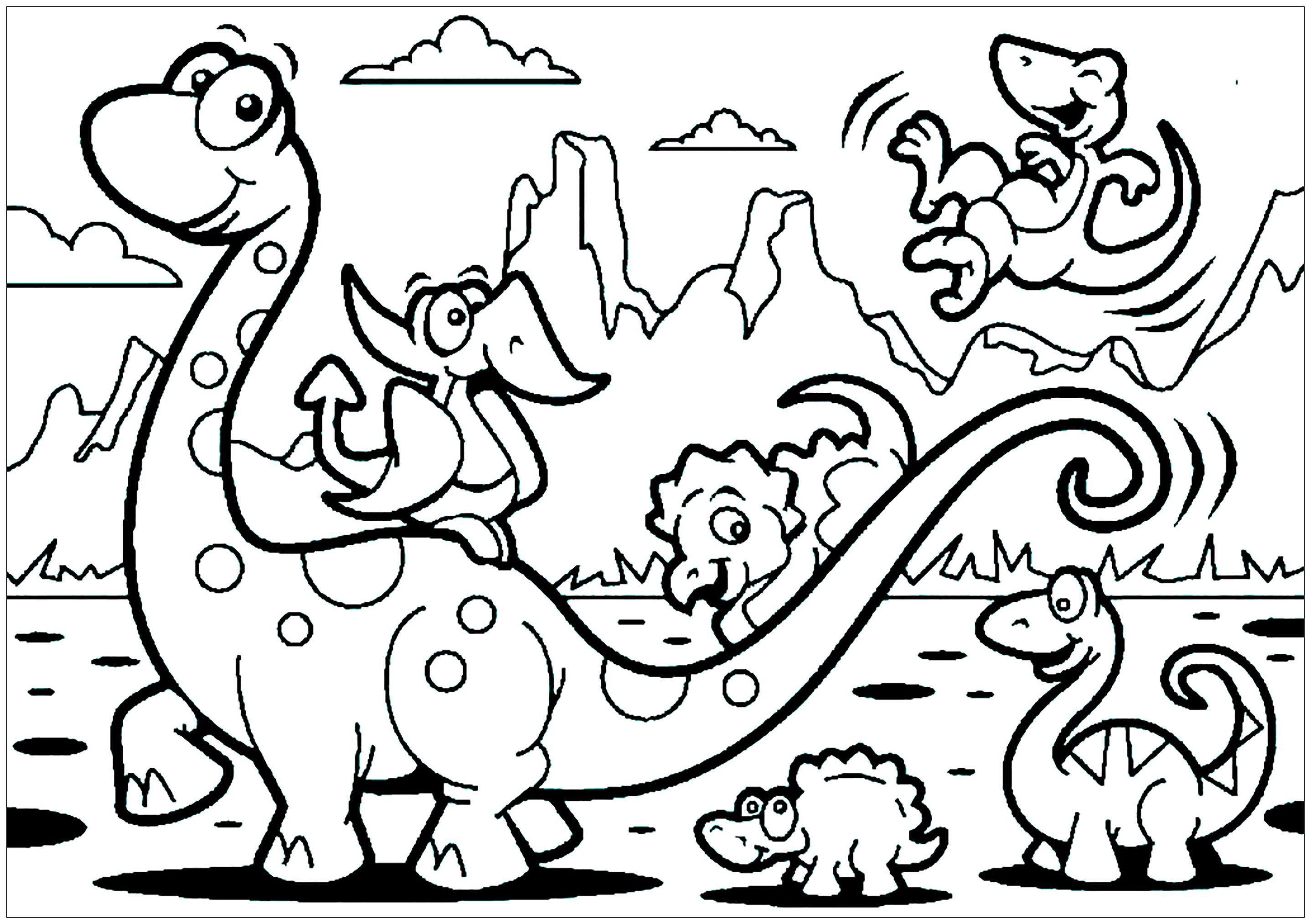 A Imprimer Dinosaure 5 Coloriages De Dinosaures Coloriages Enfants Biboon