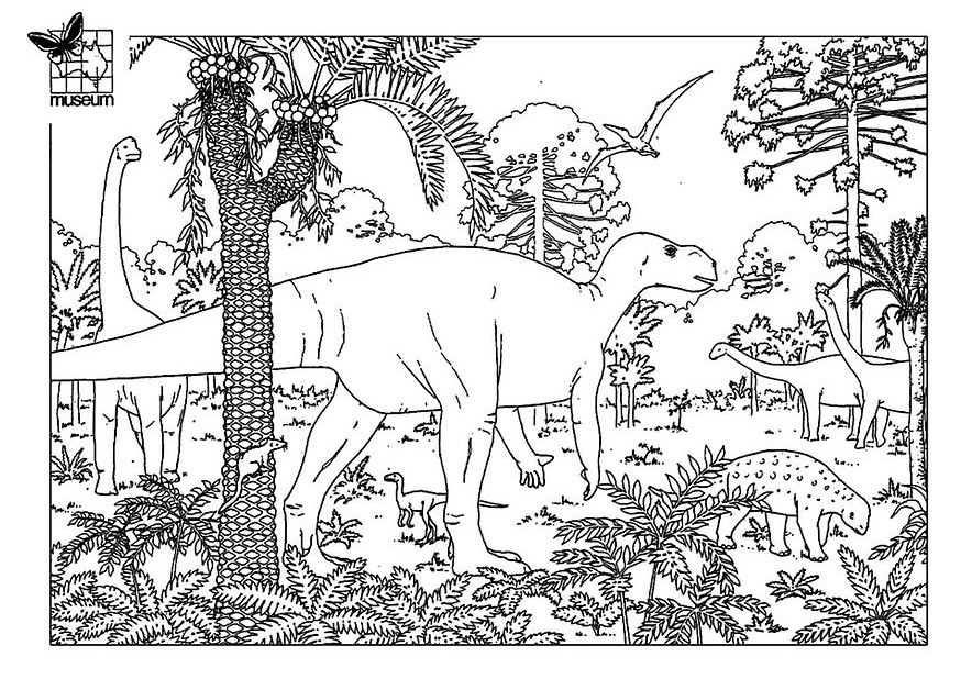Joli dinosaure dans un beau paysage jurassique à colorier