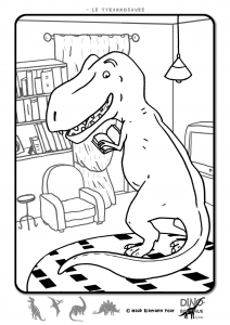 T Rex rigolo à colorier