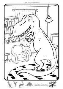 T Rex rigolo à colorier free to print