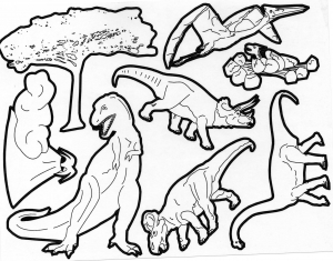 Plusieurs races de dinos à colorier