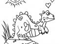 Dino amoureux à colorier