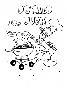 Coloriage donald barbecue