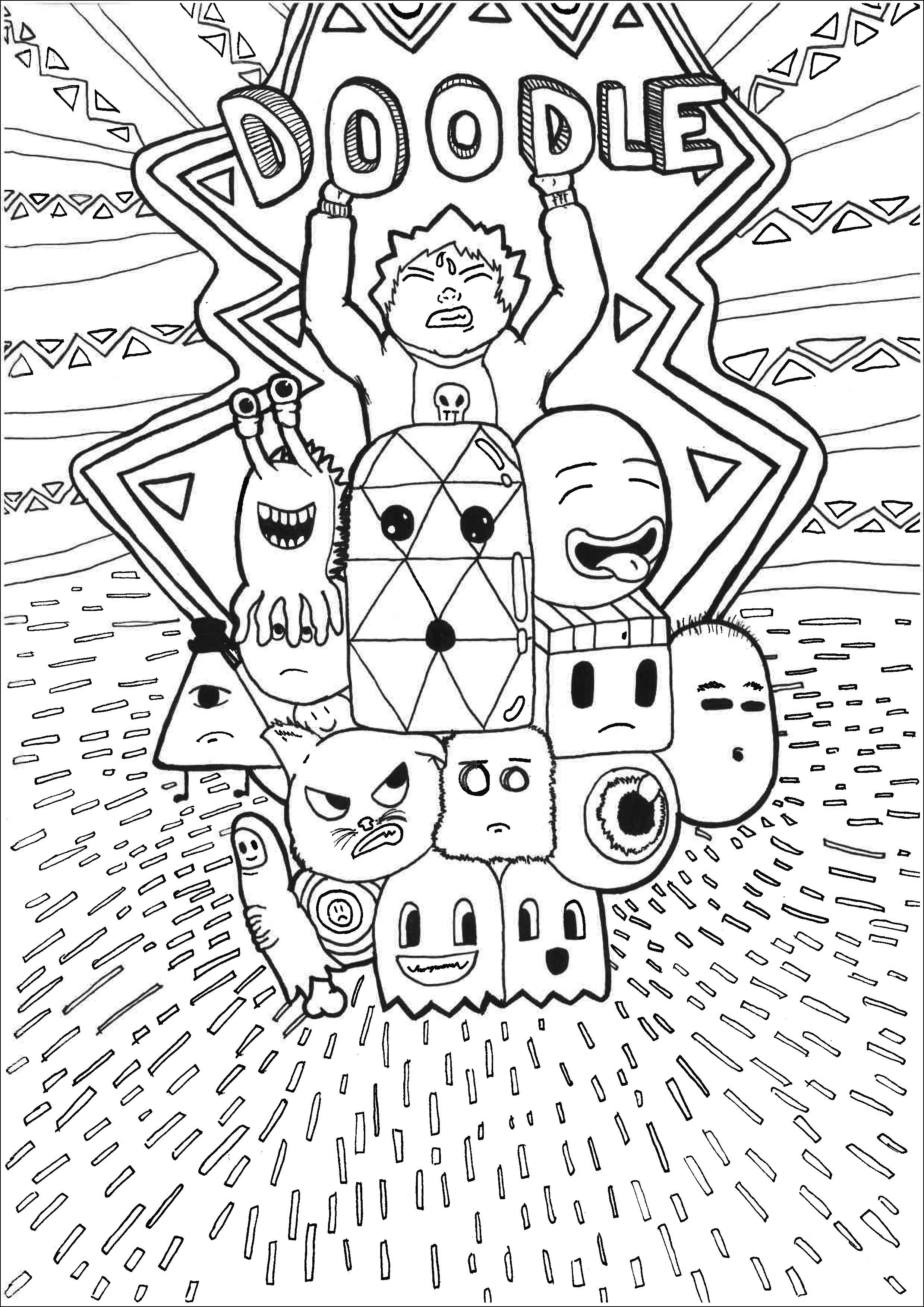 Doodle personnages - Coloriage Doodle Art - Coloriages ...