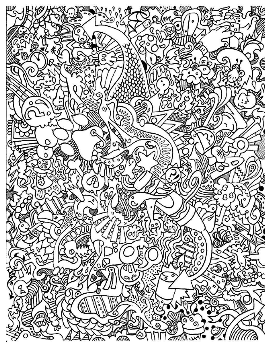 Doodling gribouillage doodle art 6 coloriage doodle art - Coloriage art ...
