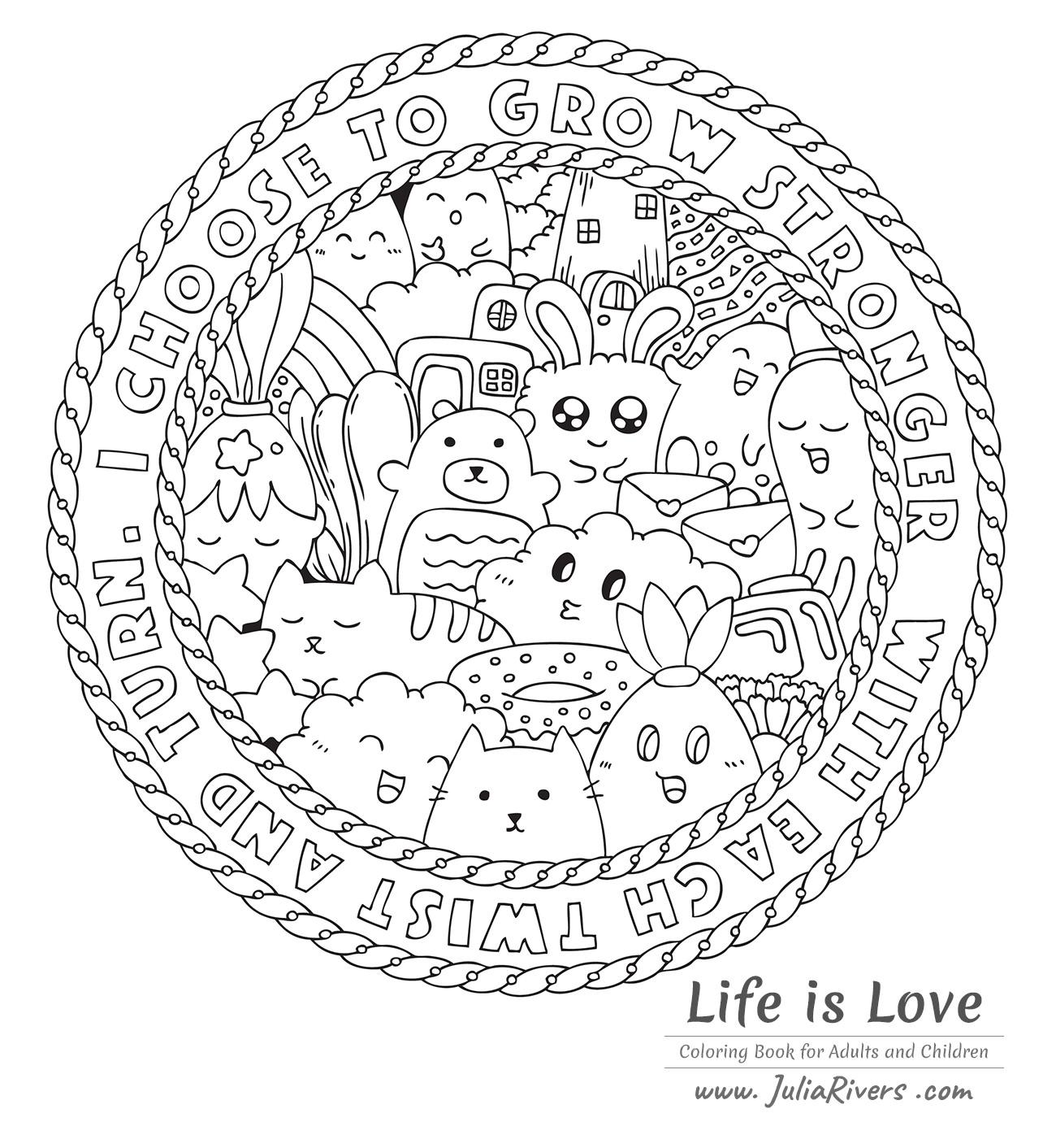 'Doodle L'amour c'est la vie' : Magnifique coloriage sous forme de Mandala, avec des créatures dessinées avec le style Kawaii, et même un Donut !