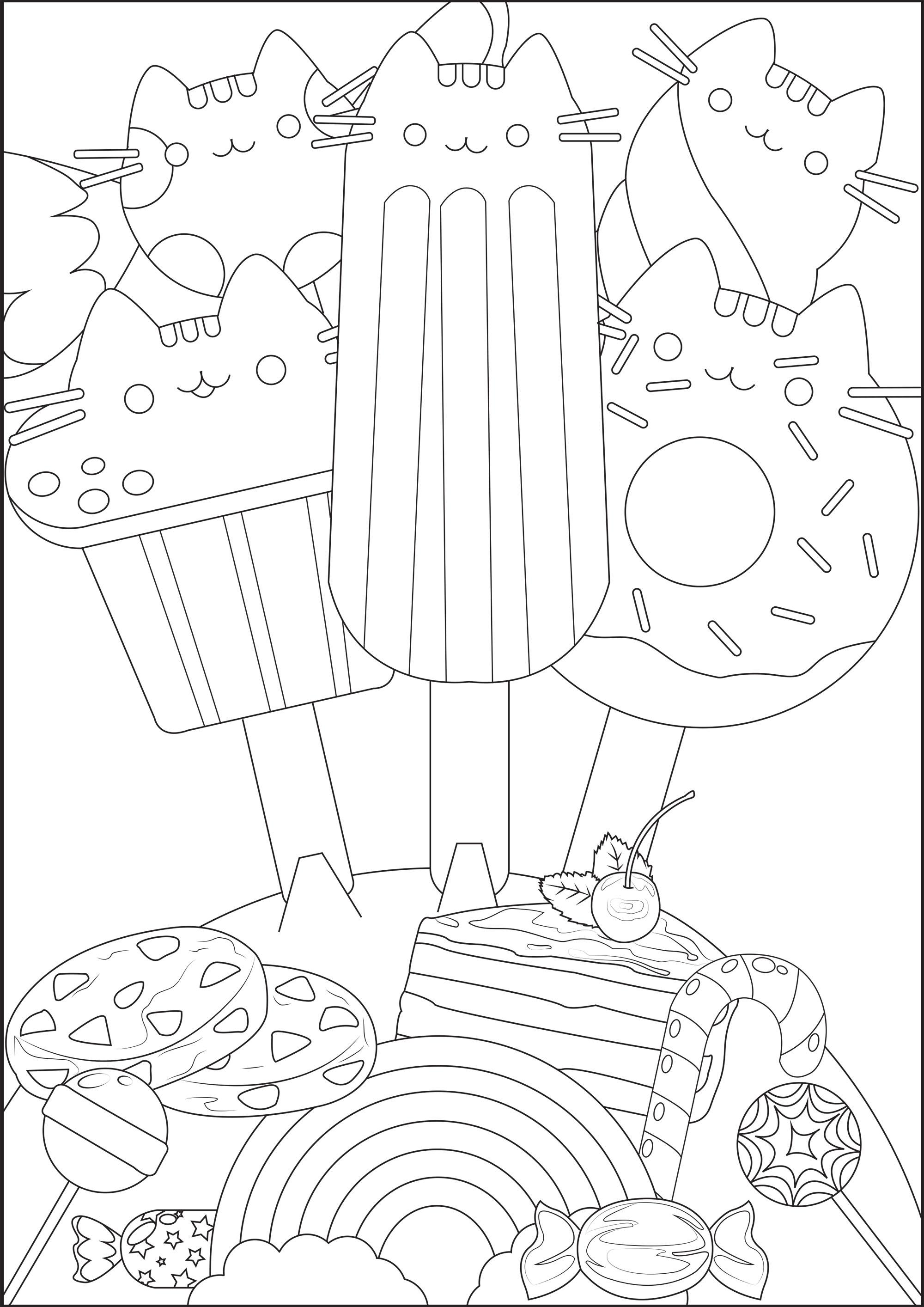 Coloriez ces jolies glaces avec têtes de Pusheen, gateaux et autres bonbons