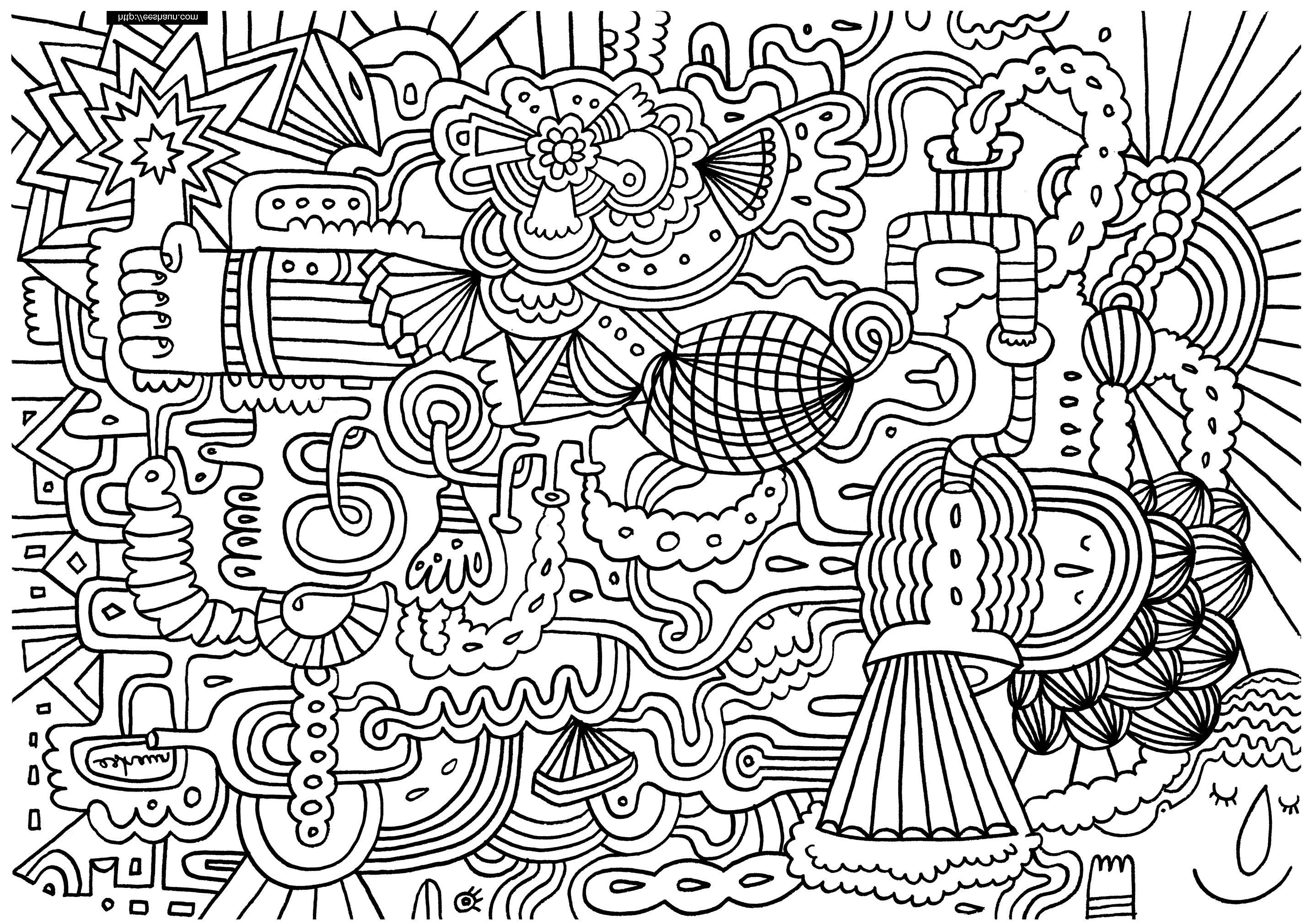 Gribouillage doodle art 1 coloriage doodle art - Coloriage art ...