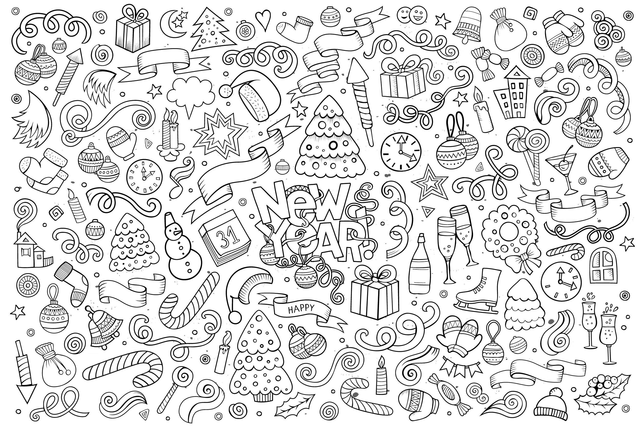 Doodle a colorier facile bonne annee