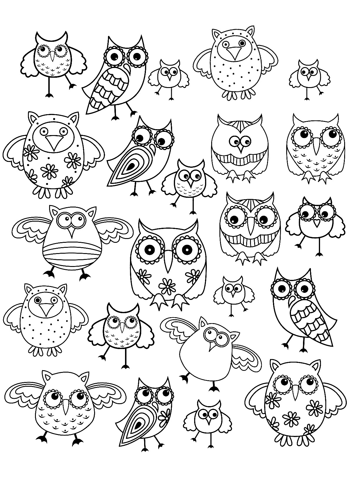Doodle Simple Hibou Coloriage Doodle Art Coloriages Pour Enfants
