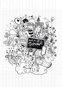 Coloriage doodle ecole