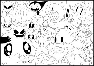 Coloriage doodle monsters par jim