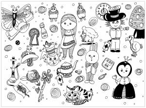 Coloriage doodle personnages par azyrielle