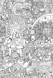 coloriage doodling gribouillage doodle art 4
