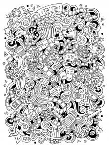 Doodle facile sur le thème du Cinéma