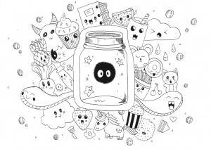 Coloriage kawaii doodle par rachel