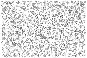 Doodle a colorier facile bonne annee 2016 par balabolka