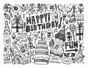 Doodle a colorier facile joyeux anniversaire par notkoo2008