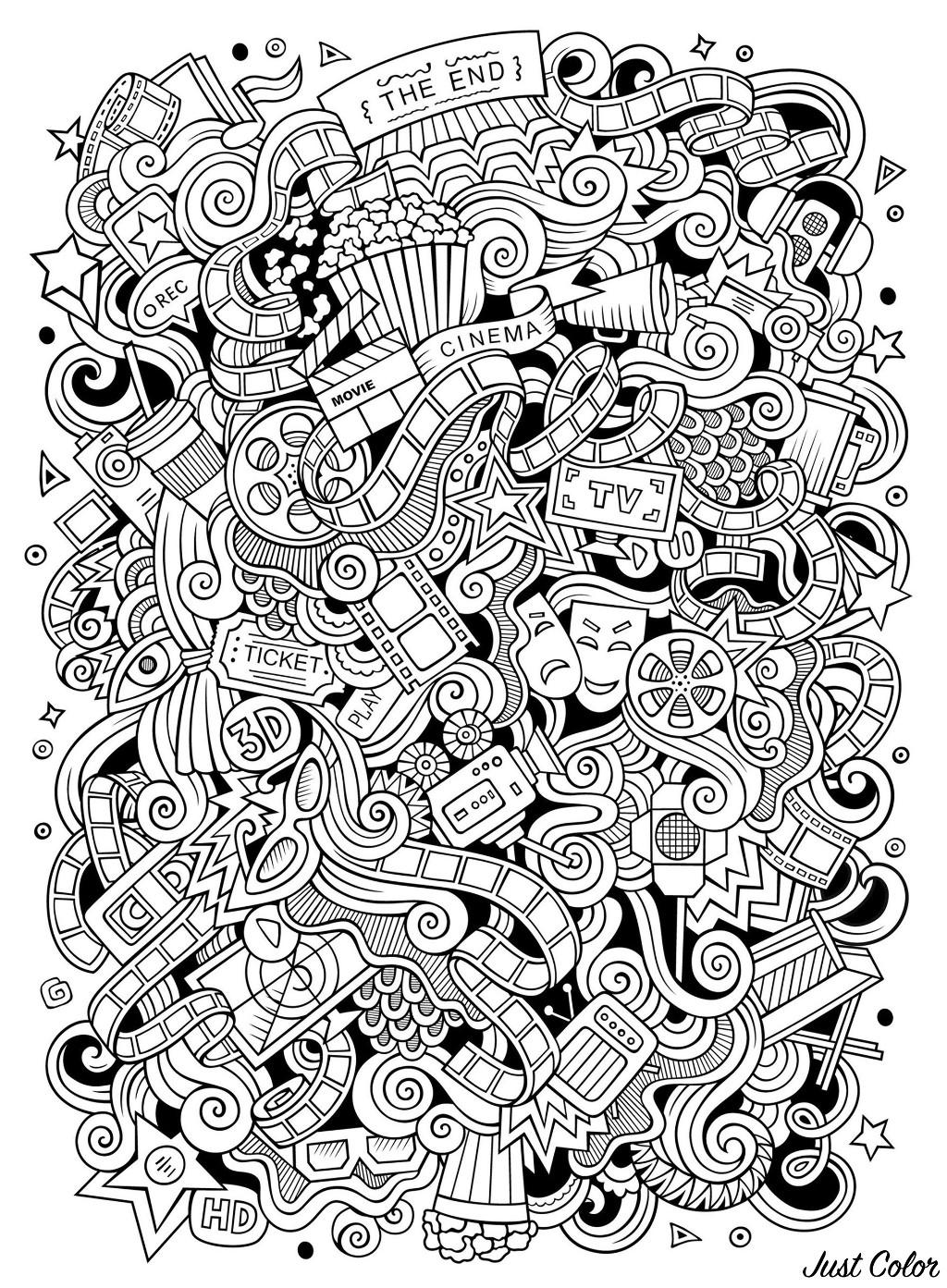 Doodle Facile Sur Le Th 232 Me Du Cin 233 Ma Coloriage Doodle