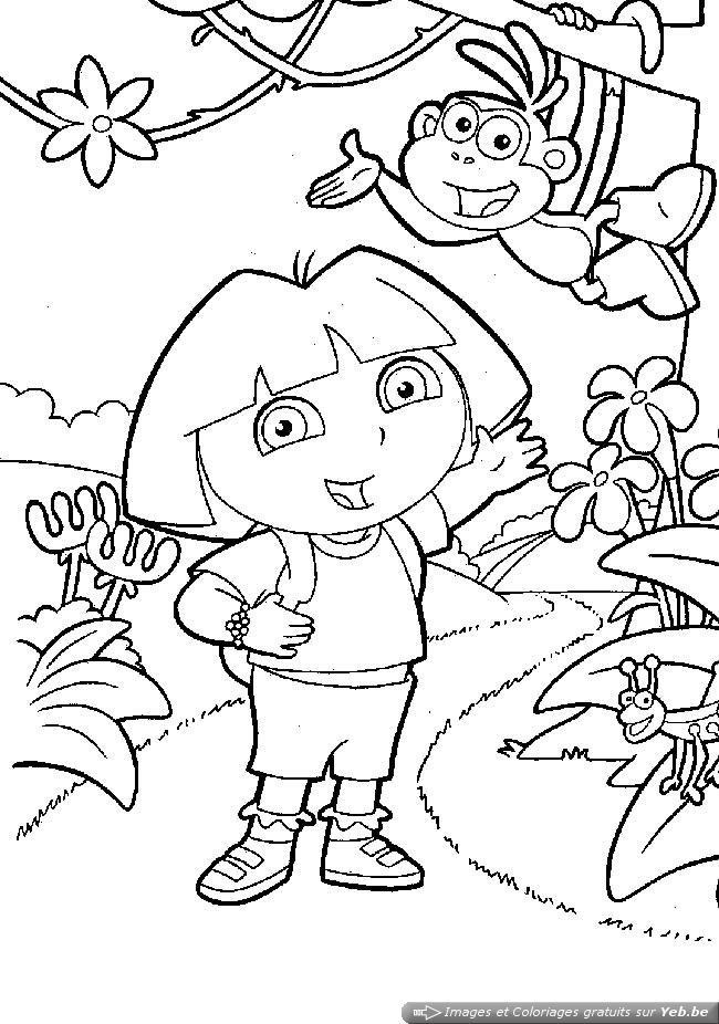 Dora et babouche courrent avec sauterelle coloriages de - Dessin de dora et babouche ...