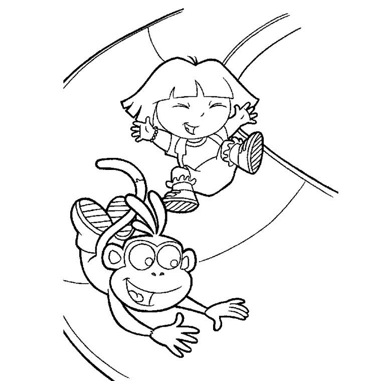 Coloriage de Babouche qui joue avec Dora