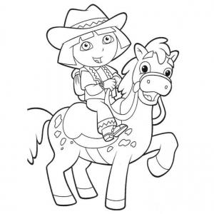 Coloriage de Dora à cheval